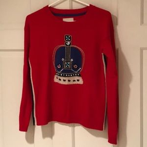 Mini Boden girls red crown sweater